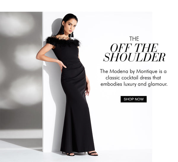 The Modena Gown, our floor sweeping feathered gown! Shop the Black Edit with Montique.