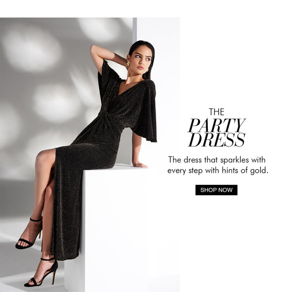 Our Diva Gold Lurex Gown, the ultimate Party Dress! Montique Black Edit