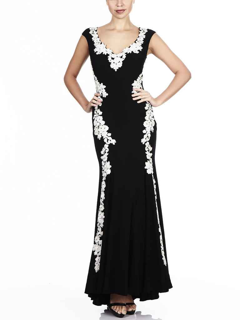 The Ava Embriodered Gown Is Available In Black, Navy & Gold