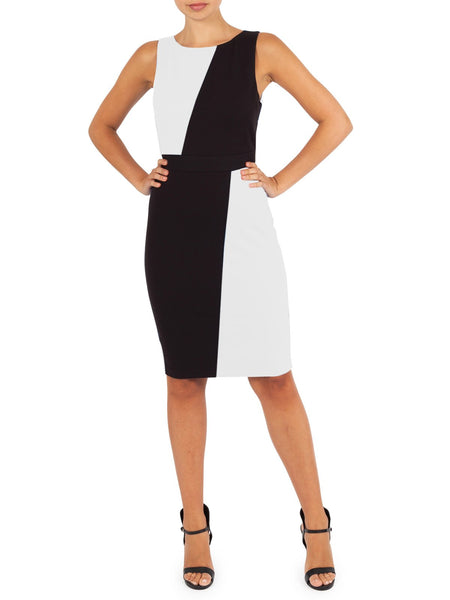Cleo Spliced Dress Is Avaliable in Black & Blue