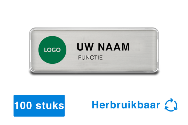 100 x Naambadges met magneet - herbruikbaar - 76 x 26mm - zilver - badge design software