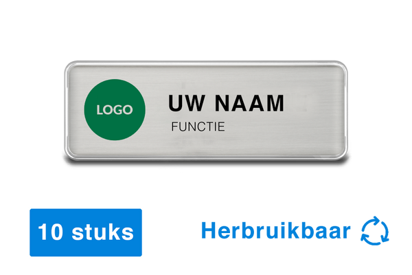 10 x Naambadges met magneet - herbruikbaar - 76 x 26mm - zilver - badge design software