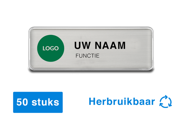 50 x Naambadges met magneet - herbruikbaar - 76 x 26mm - zilver - badge design software