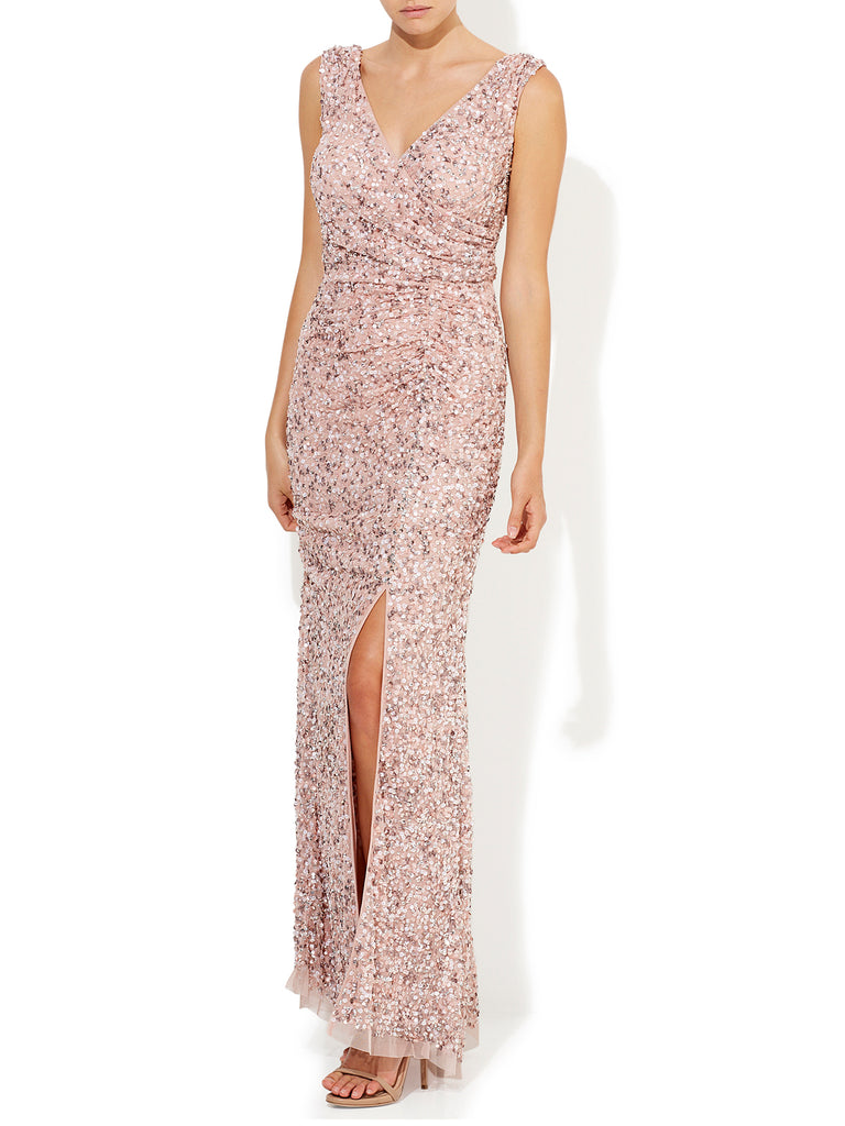 Layla Hand Beaded Gown Vintage Pink