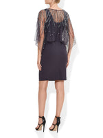 Evangelina Gunmetal Hand Beaded Dress