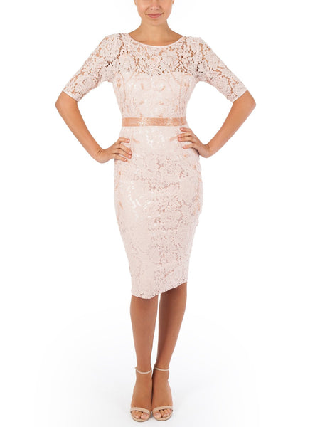 The Sophia Lace And Beade Dress Features Lace Embellished With Glamourous Beading, Available in Pink.