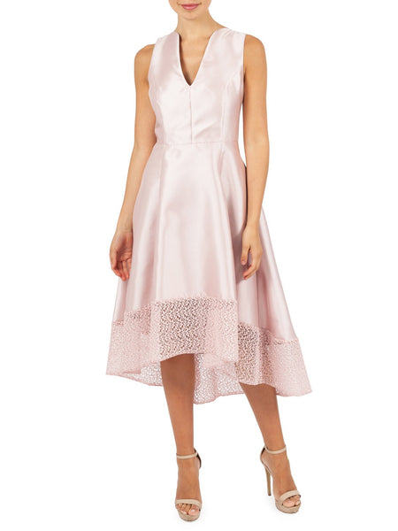 Chantelle Party Dress A Luxurious Satin Twill With a Lace Hem, Avaliable In Pink