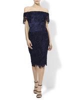 Lace Off The Shoulder Dress Available In Mink And Navy