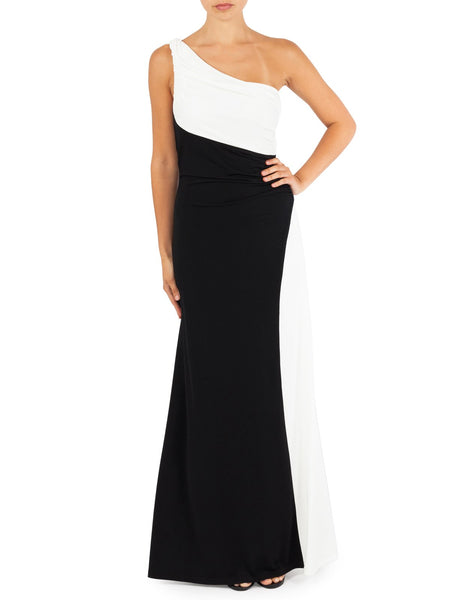 Monotone One Shoulder Gown With Side Split