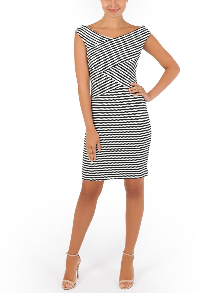 Georgia Stripe Off The Shoulder Dress A Timeless Summer Dress, Perfect For Any Occasion