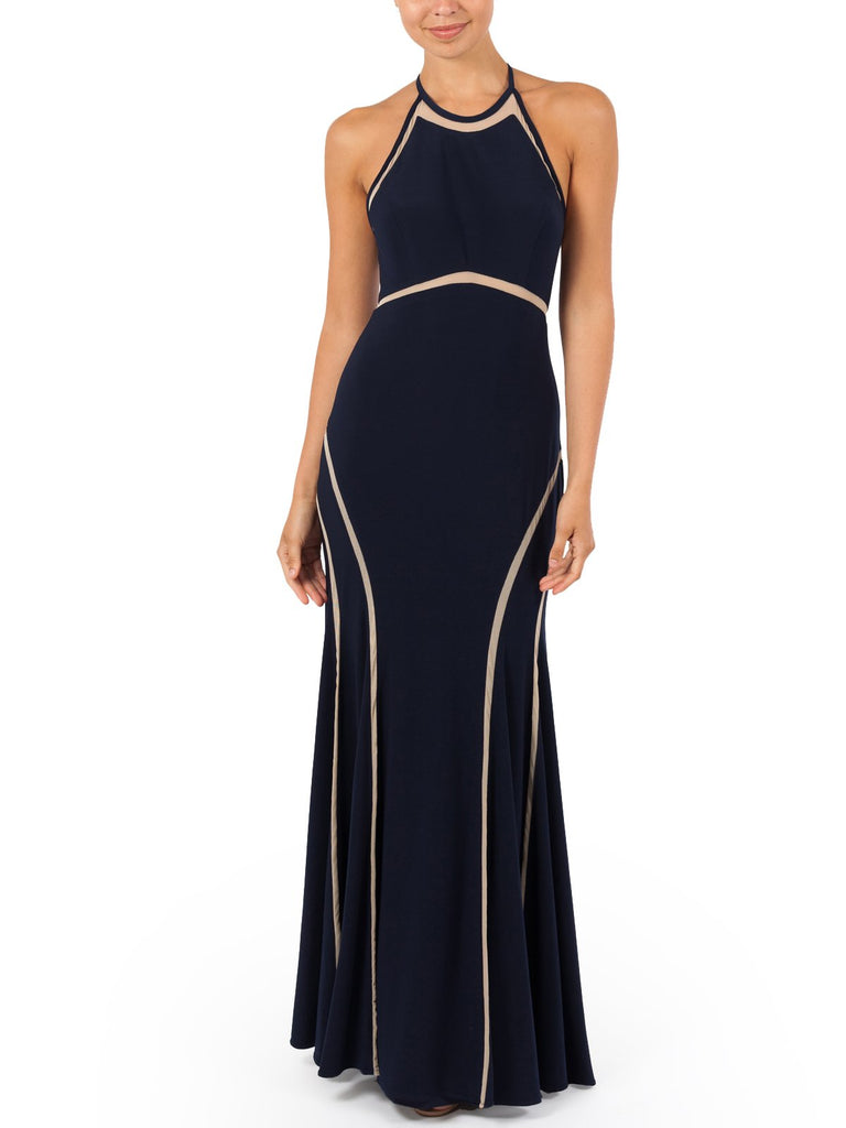 The Rafaella Gown Features A Mesh Detail & Open Back Perfect For Any Black Tie Event