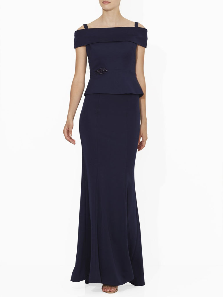 Off The Shoulder Navy Blue Top With Jewelled Embellishments.