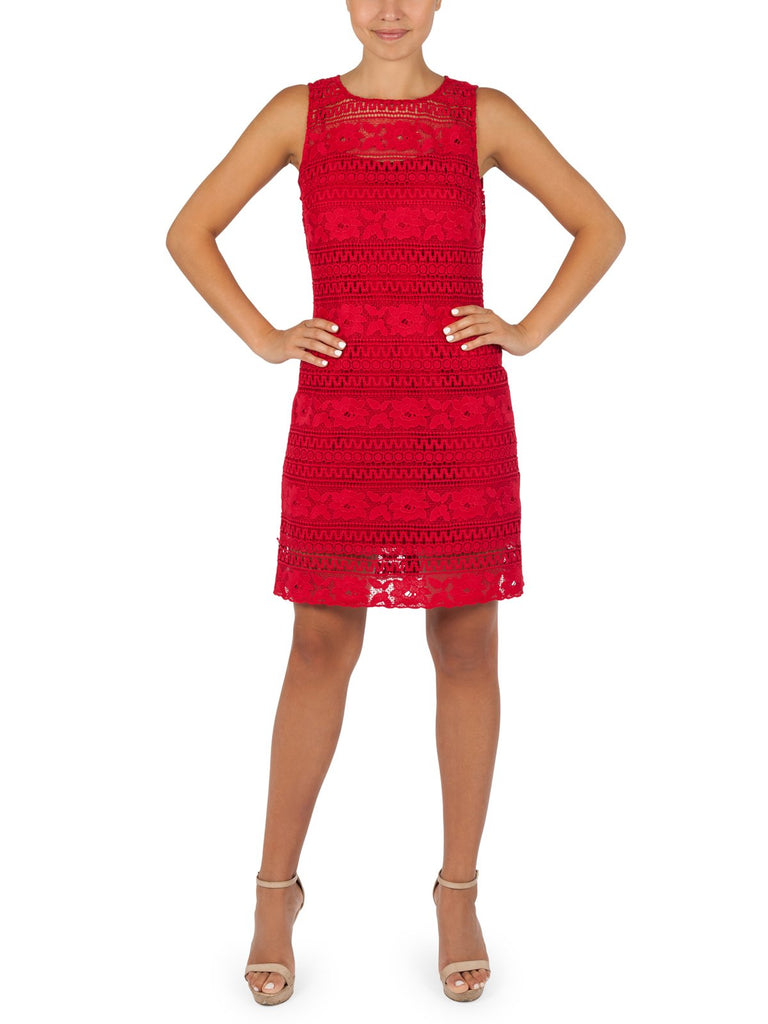 Cindy Lace Shift Dress Avaliable In Coral and White