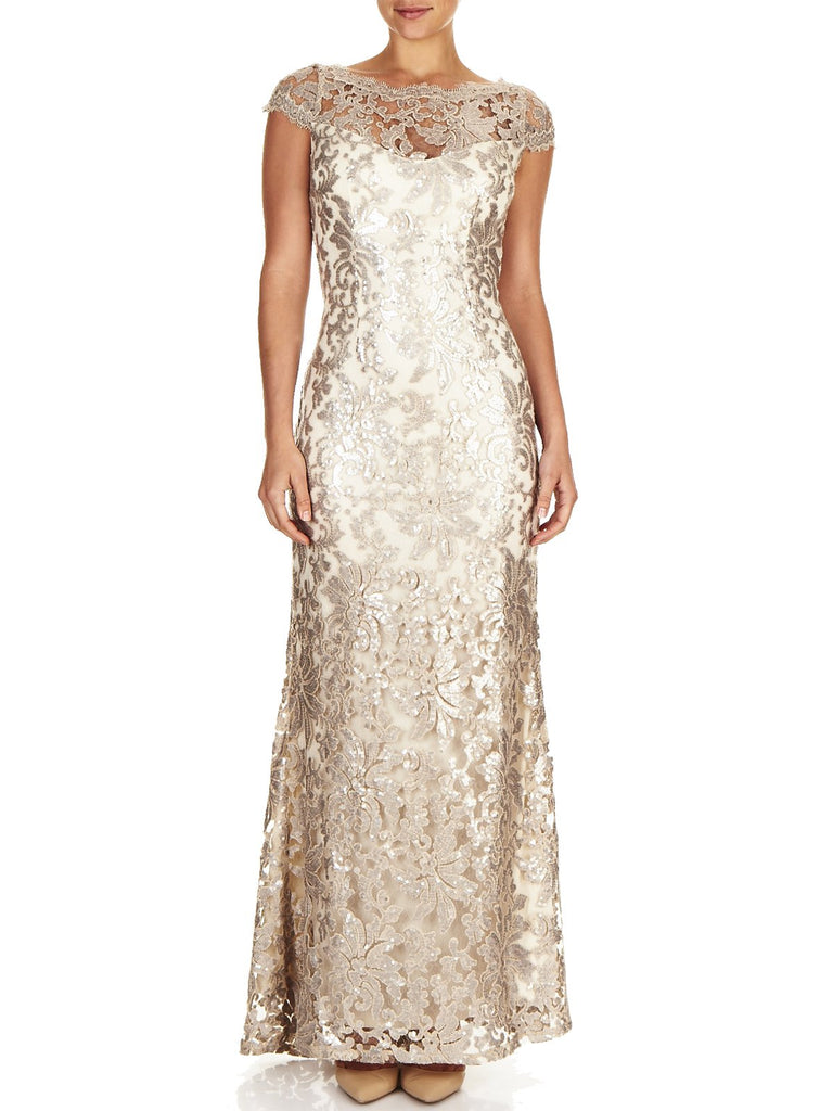 The Aubrey Embroidered Mesh Gown is a Striking Sequin Gown Available In Our Popular Colour Mink