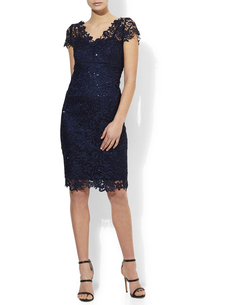 Lace Sequin Cocktail Dress Available In Navy And Oyster
