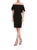 Latina Black Portrait Shoulder Dress