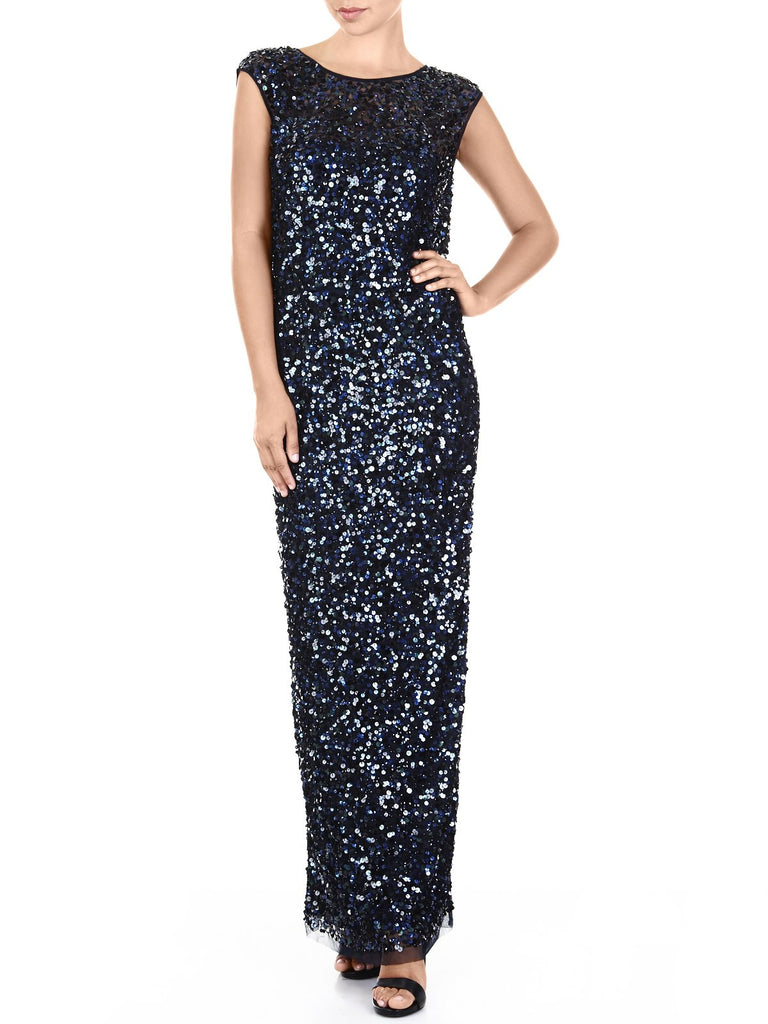 The Anastasia Hand Beaded Gown Is Perfect For Your Next Black Tie Event, Available In Navy & Mink