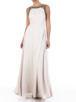 The Bailey Chiffon Gown Features Beaded Straps And Is An Ultra-Flattering Fit, Available Only In Nude.