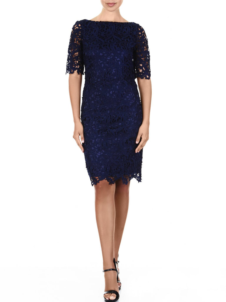 The Sienna Guipure Lace Shift dress Is a Slim Yet Stretchy Silhouette Available In Navy
