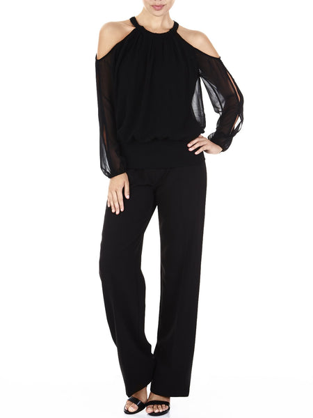 The Rochelle Chiffon & Knit Top Is An Airy Knit Cut Out Top With Fluttery Full Length Sleeves, Available In Black.