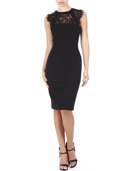The Mimi Lace Dress Is A Luxurious Stretch Crepe Very Flattering On Every Body Shape, Available In Black.