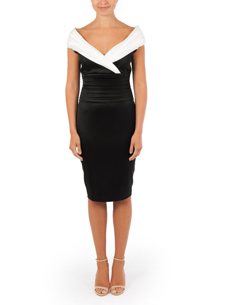 The Regan Sateen Dress A Timeless Design Available In Black