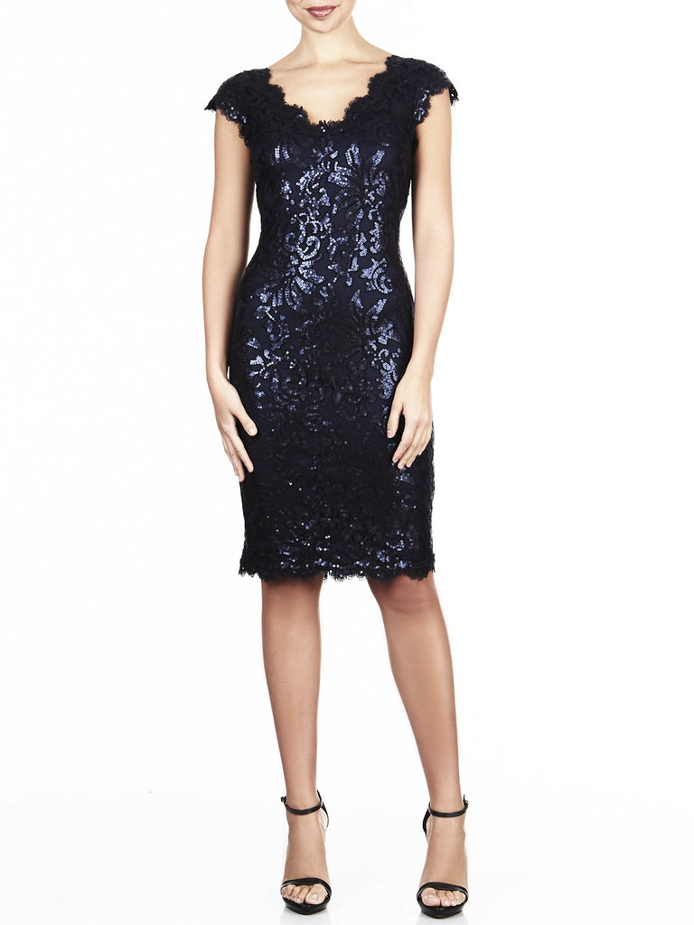 Navy Lace Sequin Cocktail Dress
