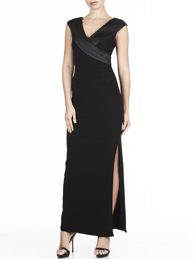 The Tuxedo Satin & Jersey Maxi Is Available In Navy