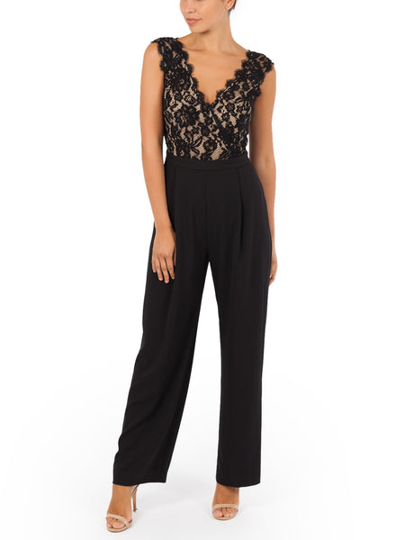 The Christelle Lace Jumpsuit Features a Lace Crossover Neckline, Available In Black