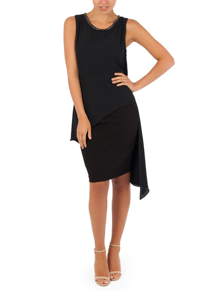 The Elli Split Chiffon Top Has An Asymmetrical Hem & Stud Embellishments, Available In Black.