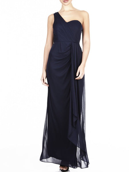 The Natalya One Shoulder Gown Is Available In Navy