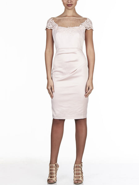 Stellah Sateen Lace Dress Is Perfect For Any Formal Occasion, Available Only In Pink