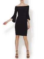 Off The Shoulder Jersey Cocktail Dress With Stylish Bell Sleeves