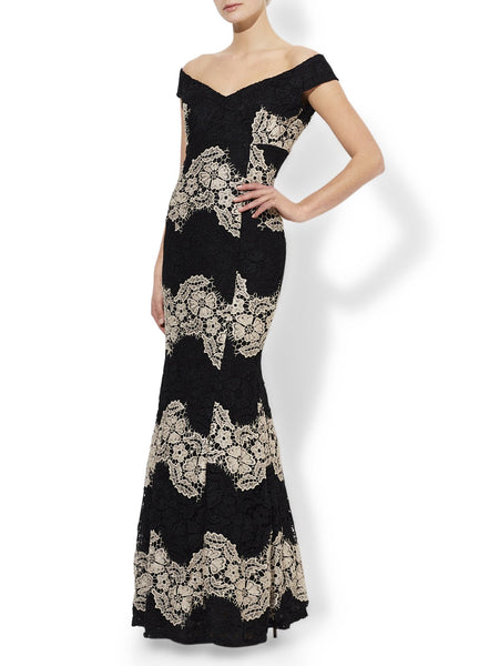 Black And Nude Lace Gown V-Neckline And Fully Lined