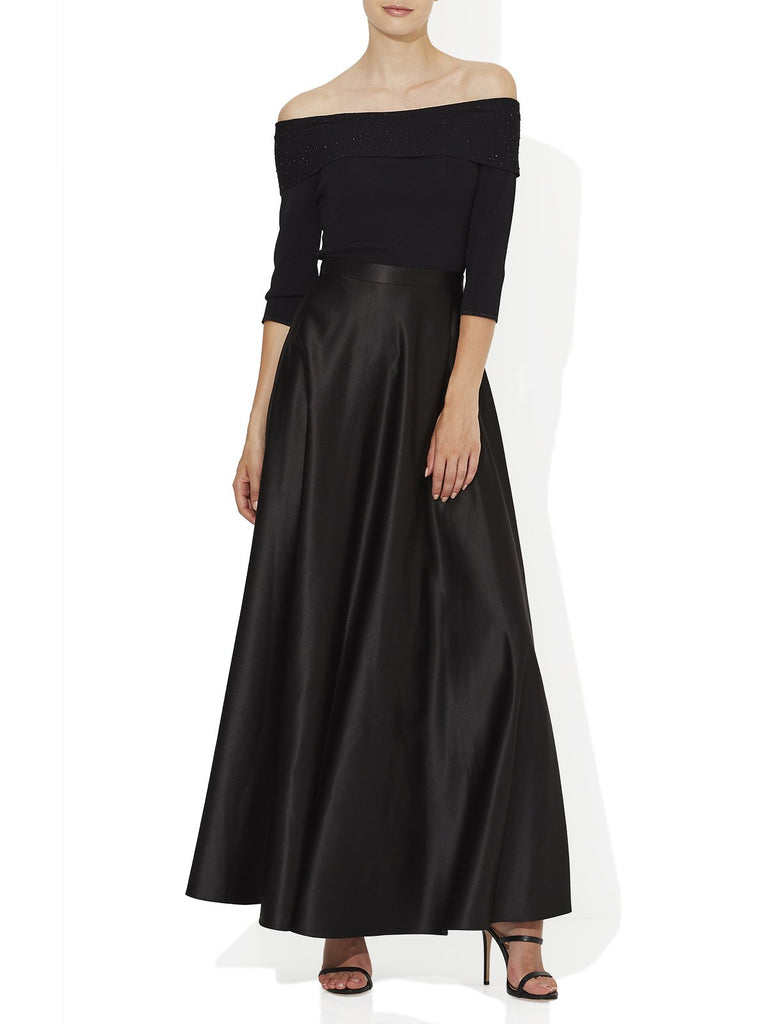 Floaty Satin Maxi Black Maxi Skirt