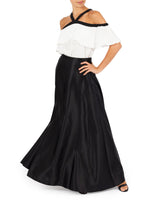 Black And White Chiffon Top With Frill