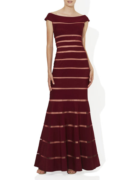 Body Con Bandage Gown With Nude Stripe Detail Fully Lined And Available In Wine And Navy