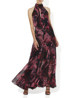 Wine And Black Floral Print On Chiffon Halter Maxi. Perfect For Weddings And Bridesmaids