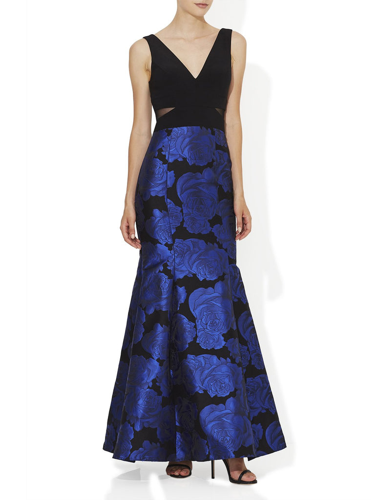 Cobalt And Black Floral Jacquard Gown With Black Bodice