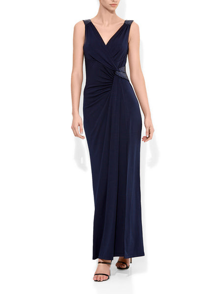 Amalia Navy Wrap Gown