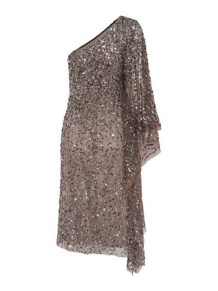 Monaco One Shoulder Hand Beaded Dress