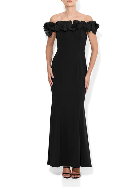 Mischa Organza Rose Black Gown