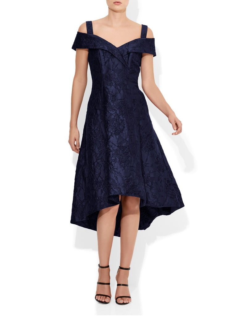 Luciana Navy Jacquard Dress