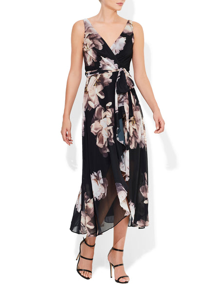 Rosie Black Print Chiffon Dress