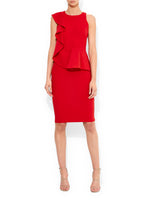 Milano Red Ruffle Shift Dress