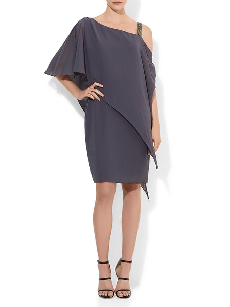 Nancie Chiffon Dress Gunmetal