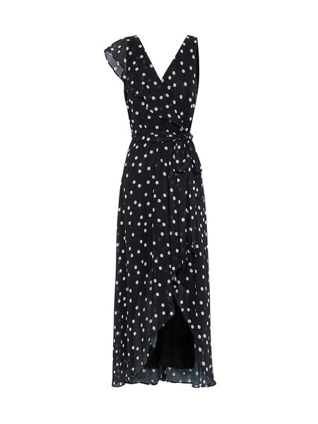 Melanie Black and Ivory Printed Chiffon Dress