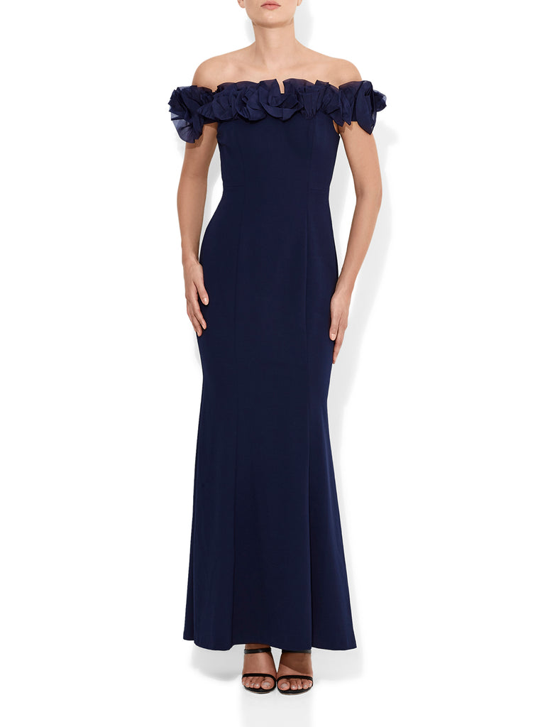 Mischa Organza Rose Navy Gown