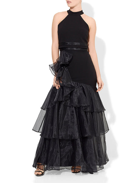 Caprice Organza Ruffle Gown