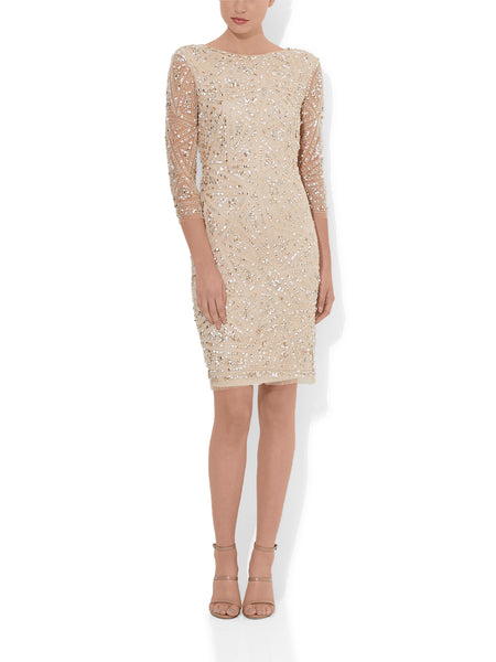 Belissima Mink Beaded Cocktail Dress